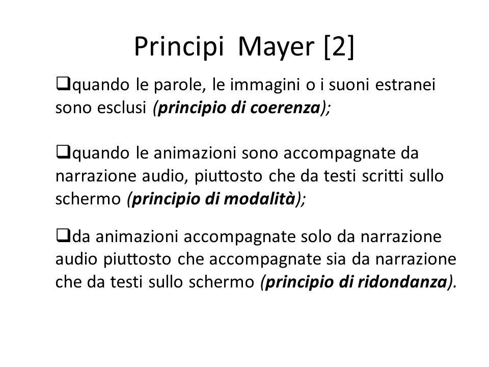 Principi Mayer [2] quando le parole, le immagini o i suoni estranei sono esclusi (principio di coerenza);